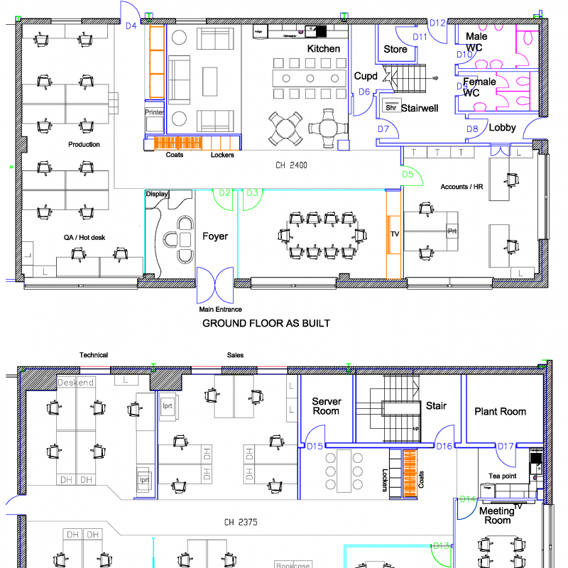 Two floor plans showing the ground and first floor layouts