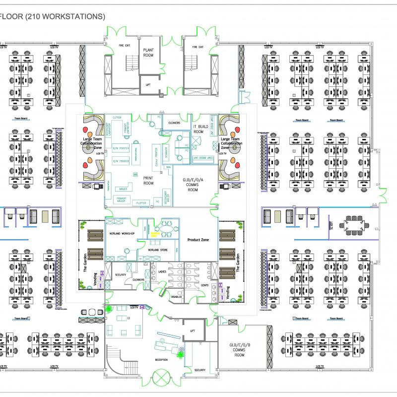 Drawing of floor layout showing desks, meeting rooms, collaboration areas etc